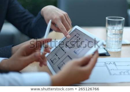 Tablet Schreibtisch Immobilien Kaffee Stift home Stock foto © Zerbor