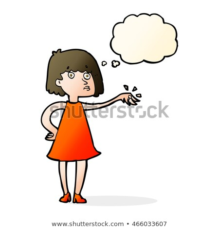 cartoon woman showing off engagement ring with thought bubble Stock photo © lineartestpilot