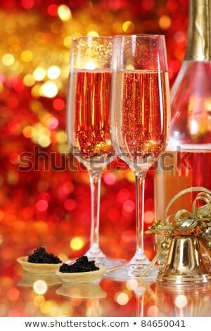 Zdjęcia stock: Dwa · okulary · szampana · jeden · czerwony · złoty
