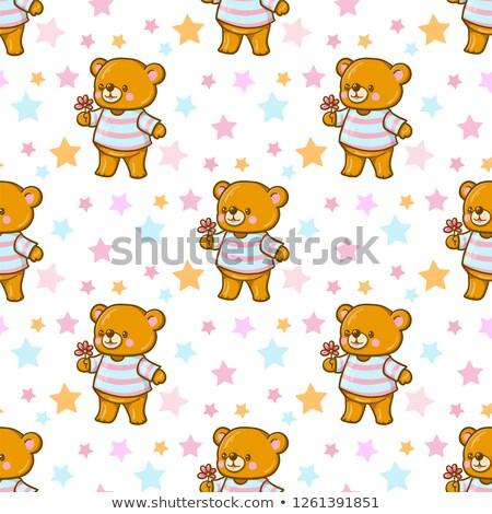 Funny cartoon bear with flower Stock photo © Amplion