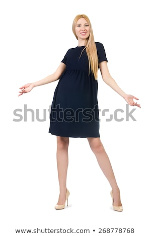 Beautiful lady in dark blue dress isolated on white Stock photo © Elnur