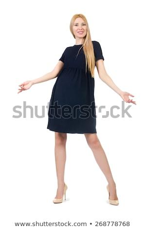beautiful lady in dark blue dress isolated on white stock photo © elnur