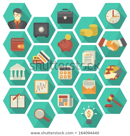 Modern Flat Financial and Business Icons in Hexagons stock photo © vectorikart
