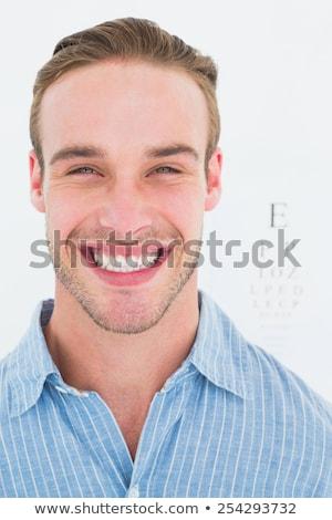 Boldog jóképű póló látásvizsgálat fehér szem Stock fotó © wavebreak_media