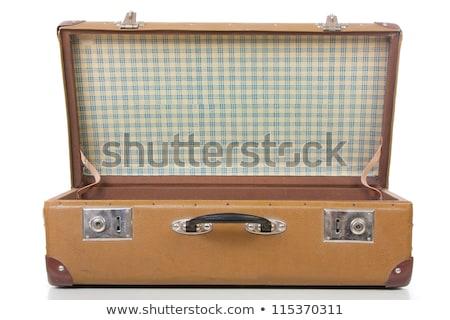 Vintage skóry retro bagażu walizkę otwarte Zdjęcia stock © stevanovicigor