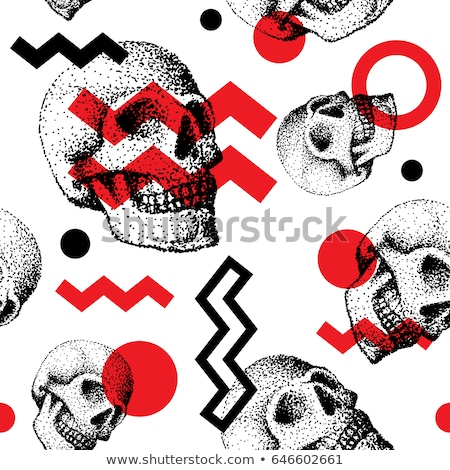 vector seamless retro pattern skull stock photo © netkov1