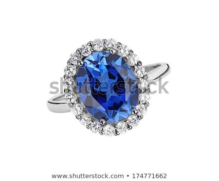 Bella anello blu gemma isolato bianco Foto d'archivio © tetkoren