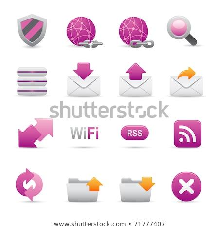 Zoom lila vektor ikon gomb háló Stock fotó © rizwanali3d