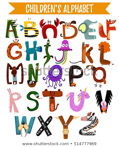 animal alphabet poster for children animals silhouettes with names and letters inside poster conce stock photo © dashikka