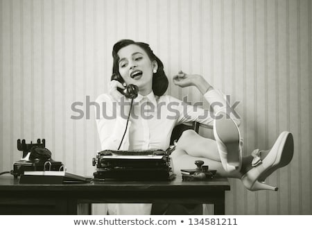 Retro Woman With Phone Stock photo © ClipArtMascots