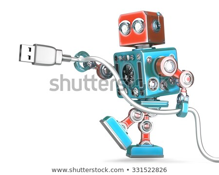 robot connecting usb cable isolated contains clipping path stock photo © kirill_m