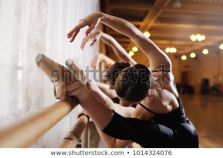 Ballerina practicing in ballet class Stock photo © deandrobot