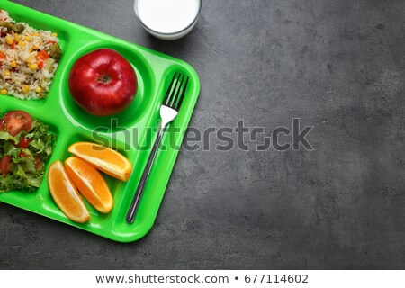 lunch trays with food and drinks stock photo © ozgur