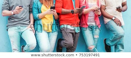 Stock fotó: Társasági · hálózatok · okos · mobiltelefon · nő · okostelefon