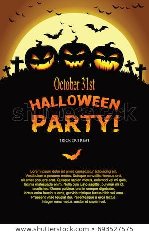 halloween · ijesztő · kidőlt · fa · temető · illusztráció · ijesztő - stock fotó © beholdereye