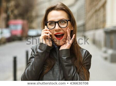 surpreendido · empresária · caminhada · para · baixo · rua · falante - foto stock © vlad_star