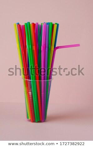 Gekleurd plastic dranken tabel afbeelding Stockfoto © saharosa