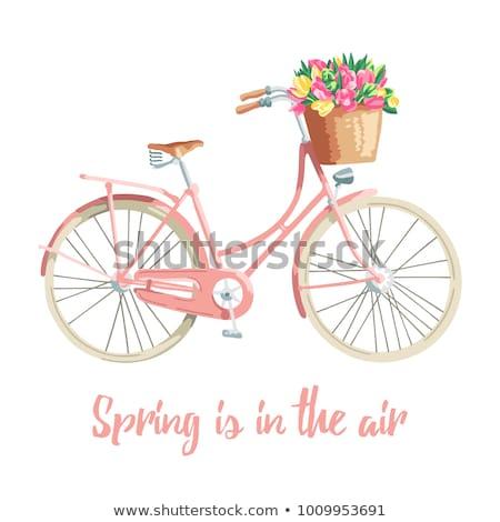 jovem · mulher · loira · vintage · bicicleta · sorrindo - foto stock © dariazu