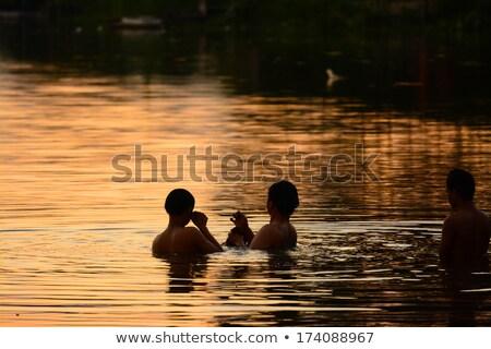 Spelevaren noordelijk meer Canada hemel sport Stockfoto © pictureguy