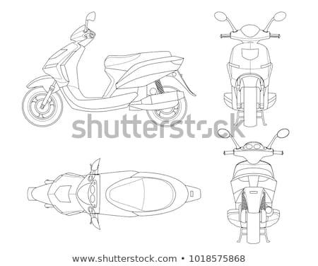 Stock fotó: Moped · skicc · rajz · tipikus · 1960 · stílus