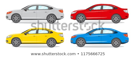 vetor · carro · pneus · vista · lateral · isolado · branco - foto stock © bluering