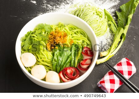 Noodles in Thailand Ba-Mee-Moo-Dang  or pasta of Asia and dried noodles with ingredient on black tab Stock photo © Bigbubblebee99