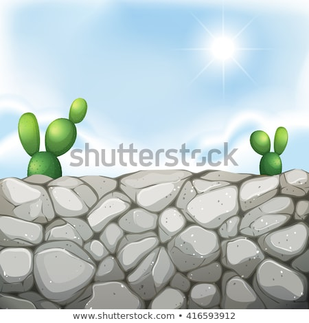 Scene with stone wall and cactus Stock photo © bluering