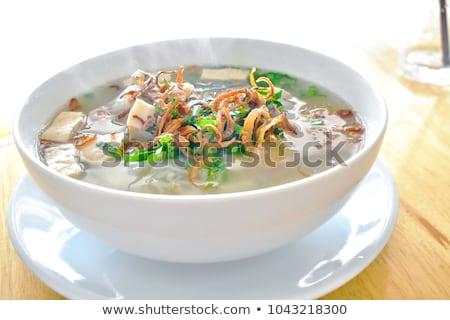 Diep kom porselein soep rijst schone Stockfoto © Digifoodstock