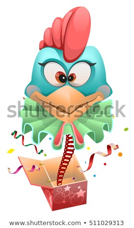 Blue head Rooster clown jumps out of box Stock photo © orensila