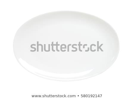 egy · izolált · fehér · porcelán · tányér · üveg - stock fotó © digifoodstock