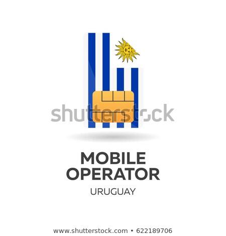 Uruguay mobile operator. SIM card with flag. Vector illustration. Stock photo © Leo_Edition
