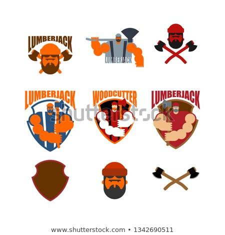 Logo szett favágó felirat szimbólum szakáll Stock fotó © popaukropa