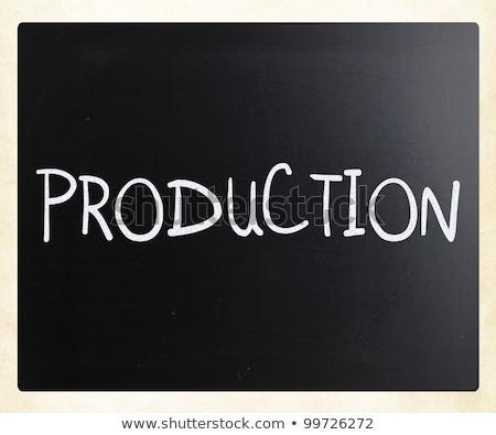 Production plan blanche craie tableau noir Photo stock © tashatuvango