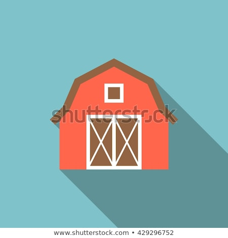 Stock photo: Flat barn icon isolated on white background. Vector