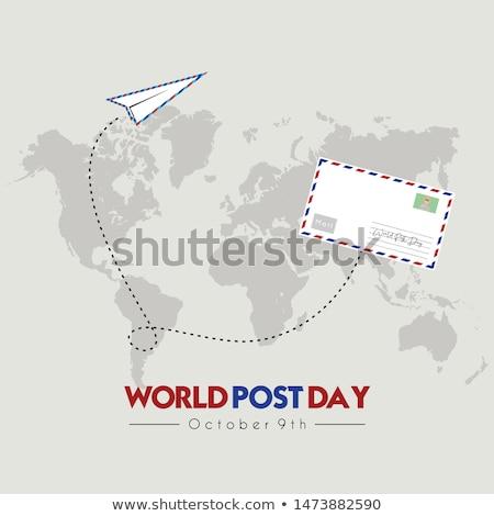 Stockfoto: Wereld · post · dag · kalender · wenskaart · vakantie