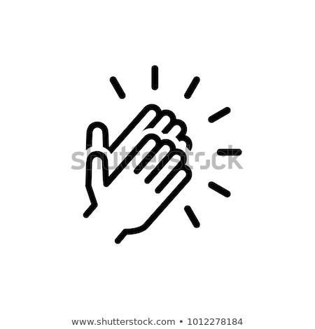 ícone mãos preto texto super Foto stock © Olena
