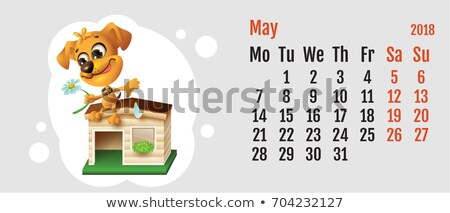 2018 year of yellow dog on Chinese calendar. Fun dog fortune telling on chamomile. Calendar grid mon Stock photo © orensila