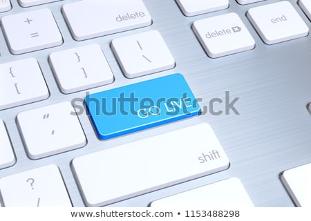 Stock photo: Live Service on Blue Keyboard Button. 3D.