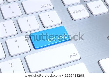 Vivere servizio blu tastiera pulsante 3D Foto d'archivio © tashatuvango
