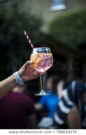 Stockfoto: Person Holding Glass With Gin Tonic