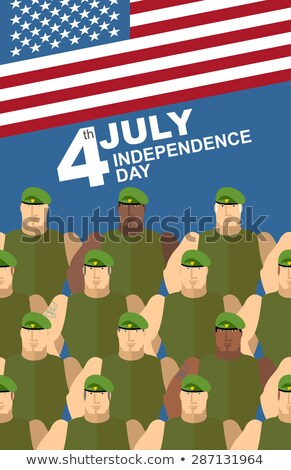 4th july. American independence day. Soldiers in Green Berets. S Stock photo © popaukropa
