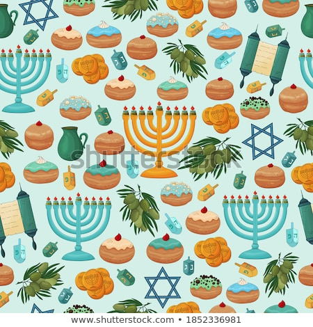 Happy Hanukkah card template with food and candles Stock photo © bluering