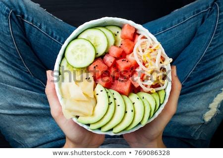Bab hajtás saláta tányér fehér fából készült Stock fotó © Digifoodstock