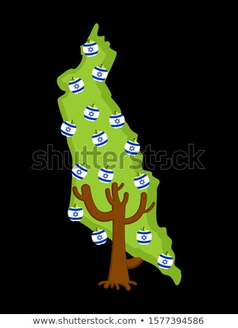 Patriotic tree Israel map. apple tree and apples Israeli flag. N Stock photo © popaukropa