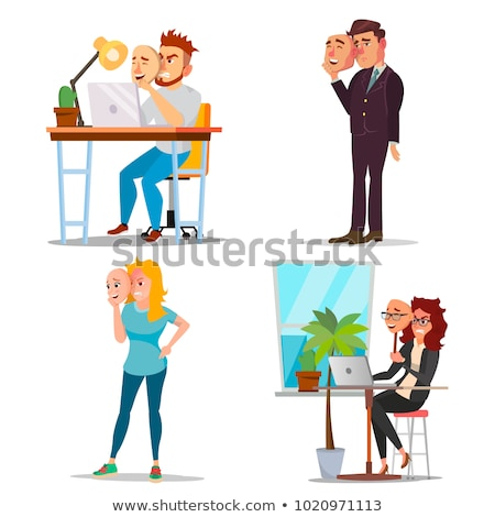 Fake Person Vector. Bad, Tired Man. Deceive Concept. Businessman Wear Smile Mask. Isolated Flat Cart Stock photo © pikepicture