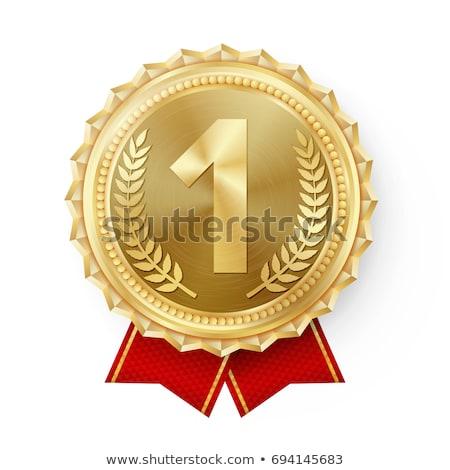 Díj aranyérem piros szalagok ikon arany Stock fotó © biv