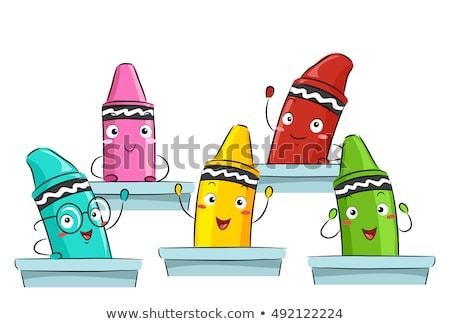 Mascot Crayons Class Stock photo © lenm