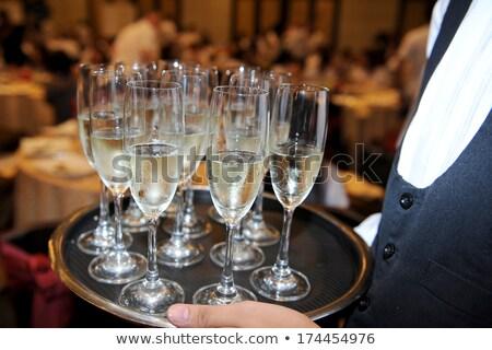 Camarera champán bandeja blanco negro boceto Foto stock © derocz