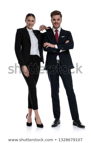 Nevet üzletember áll lábak keresztbe kéz zseb Stock fotó © feedough