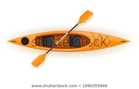 Stockfoto: Kajak · plastic · vissen · toerisme · geïsoleerd · witte